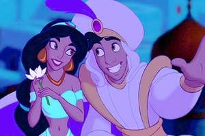 aladdin and jasmine riding on a magic carpet through the sky