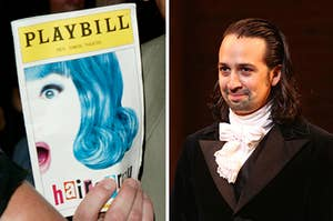 """A """"Hairspray"""" playbill is on the left with Lin Manuel Miranda smiling on the right"""