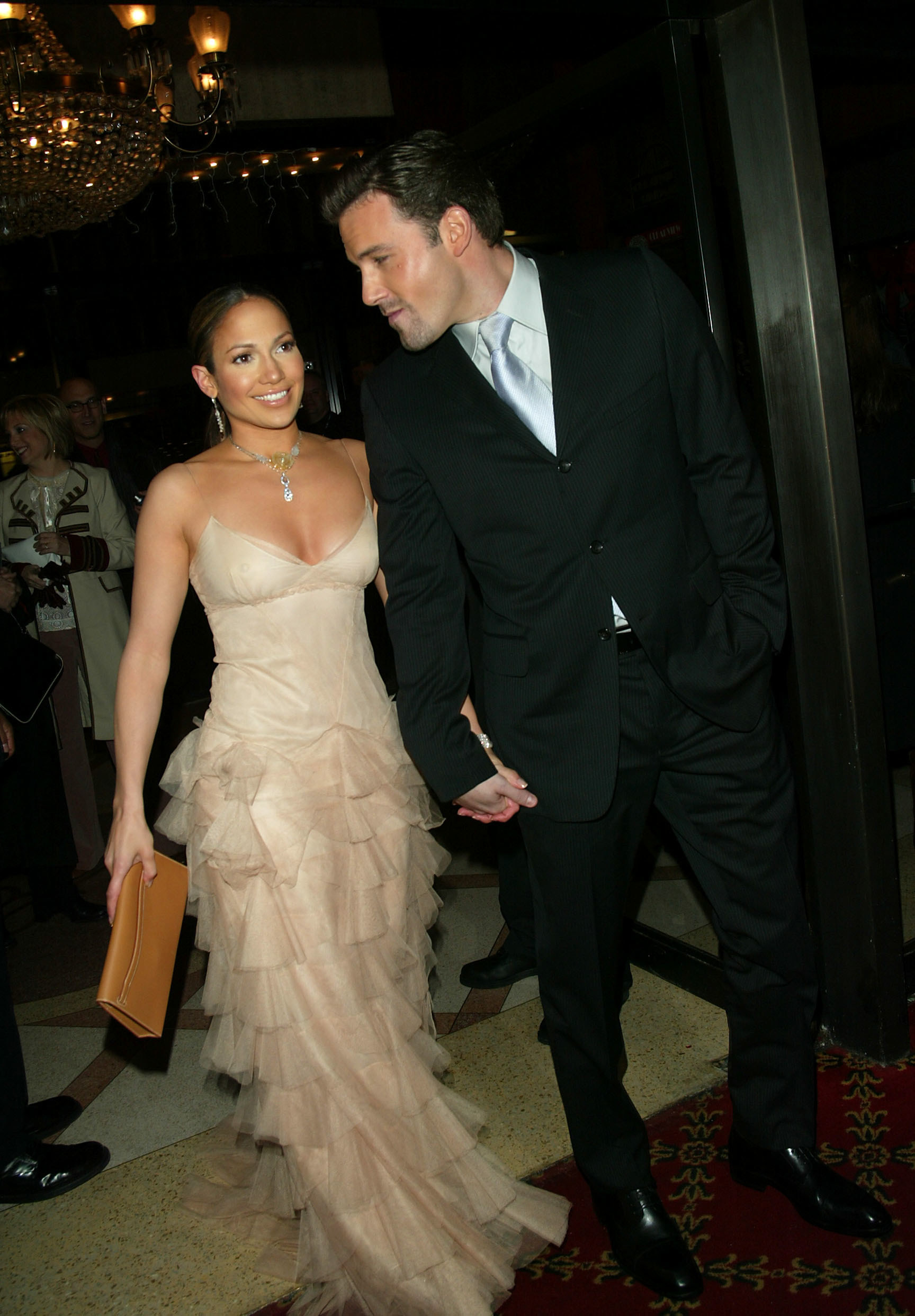 Jennifer Lopez and Ben Affleck at the premiere of Maid in Manhattan