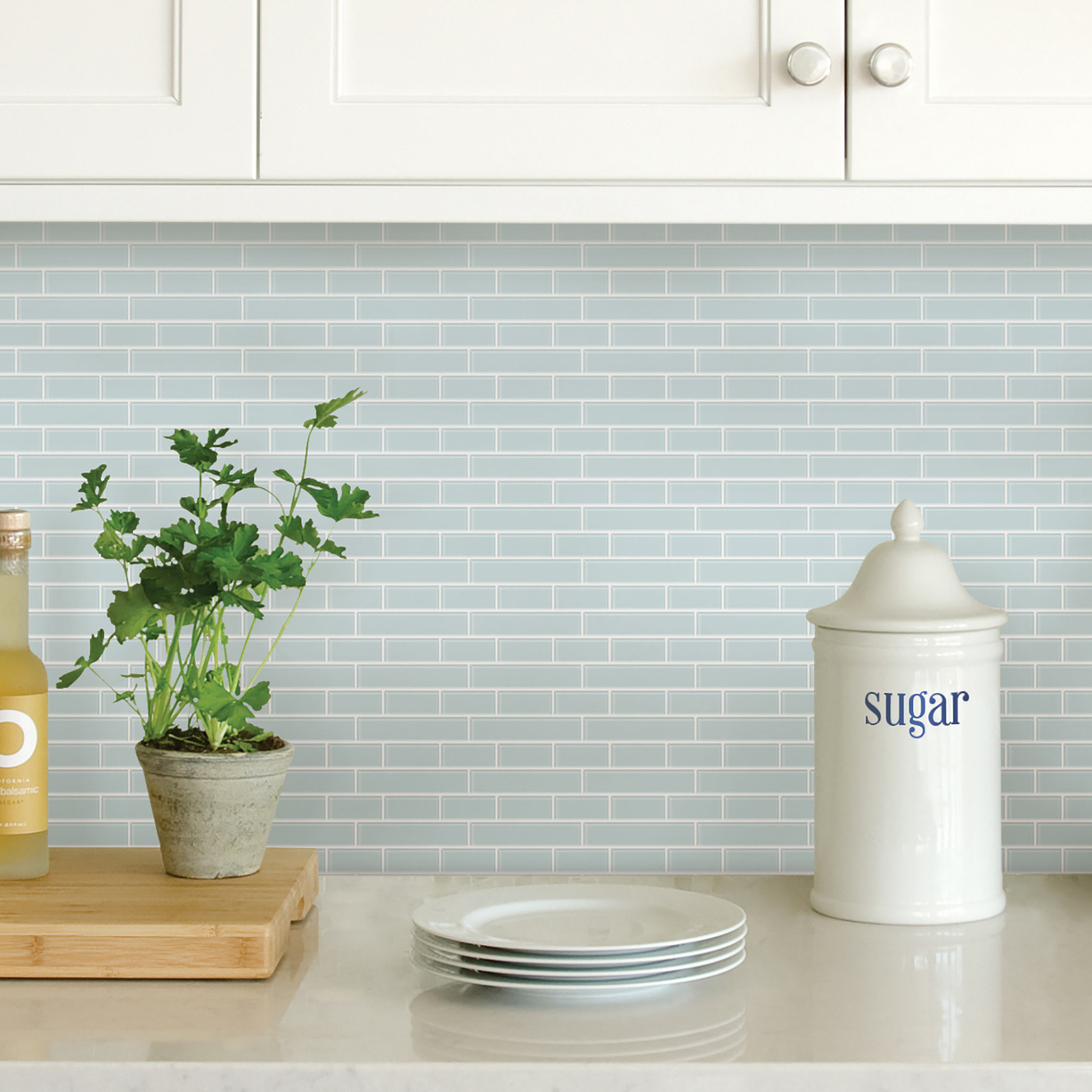 sea glass peel and stick resin backsplash tiles staged in a neutral, inviting kitchen