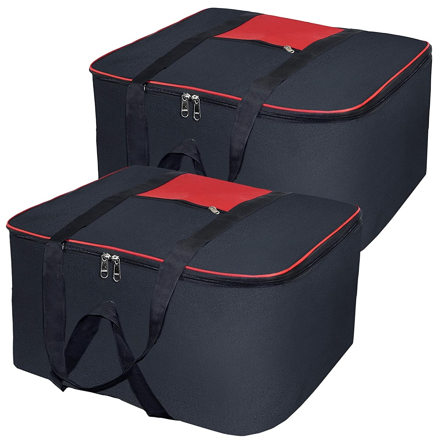 Red and black storage bags.