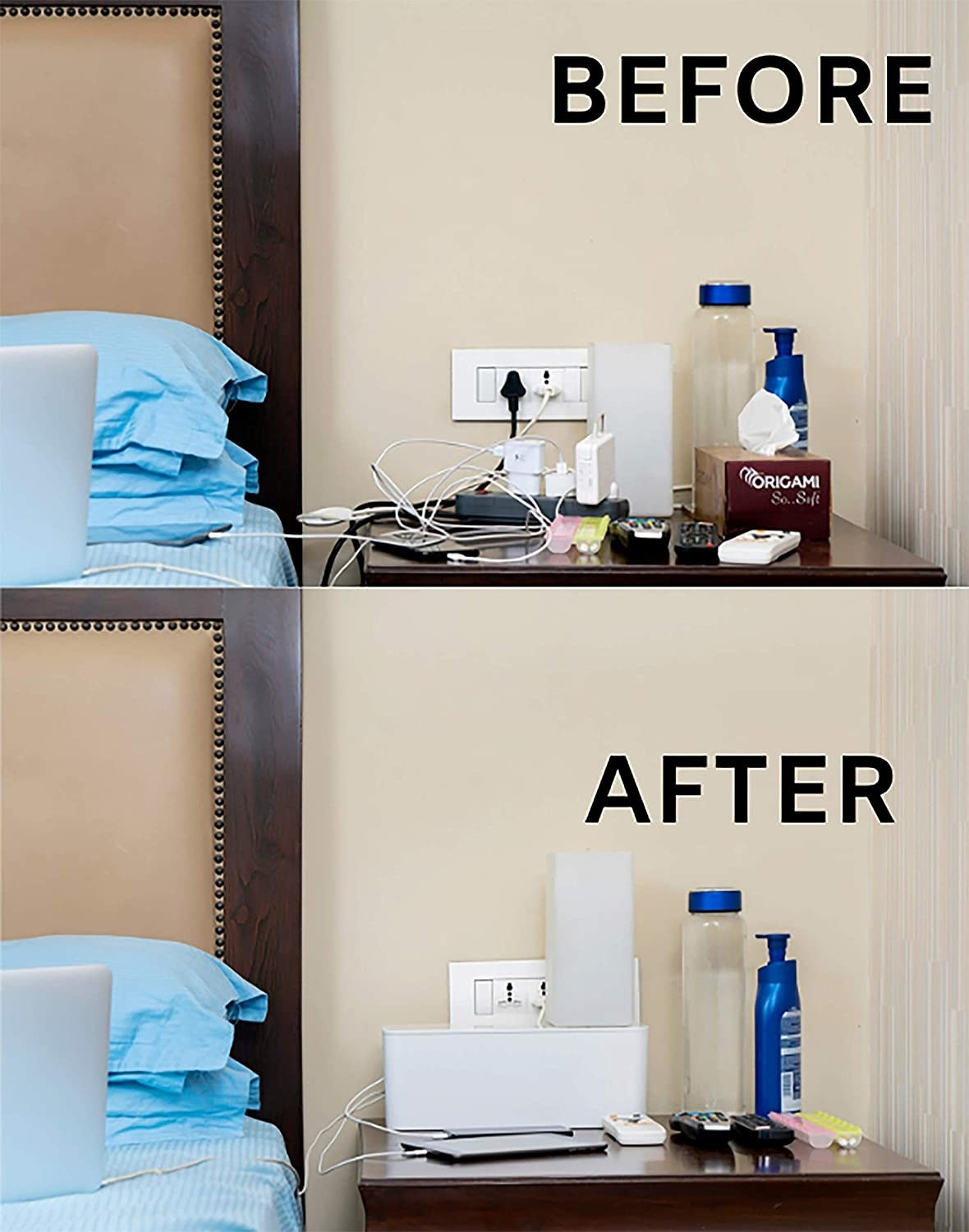 A split before and after image. The before image consists of messy wires on a bedside table and the after image is neatly concealed wires.