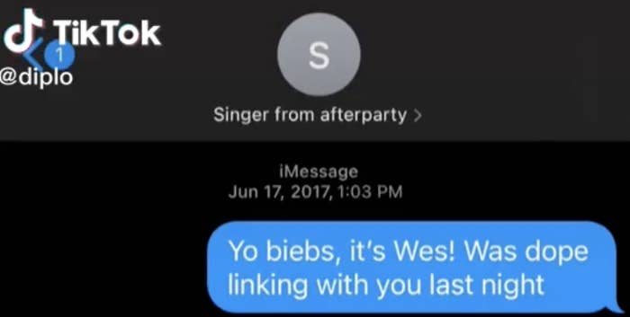 """Screenshot of TikTok screen, with Diplo texting """"Singer from afterparty"""""""