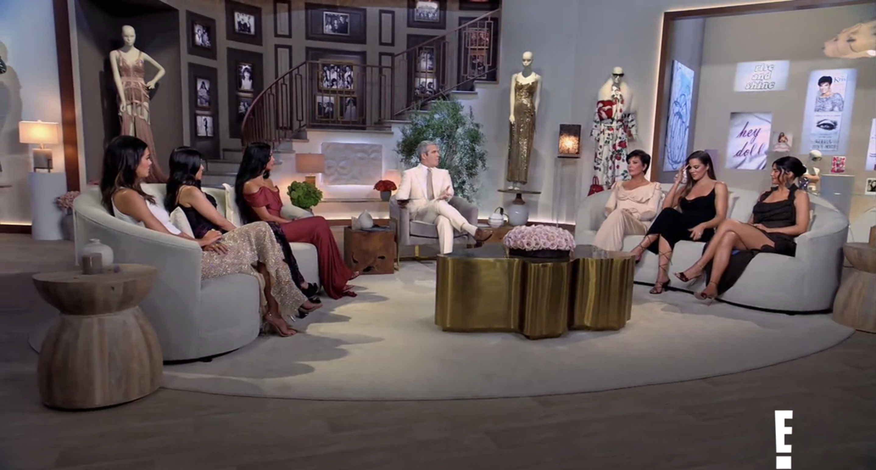 Another shot of the Kardashians, Jenners, and Cohen during the reunion special