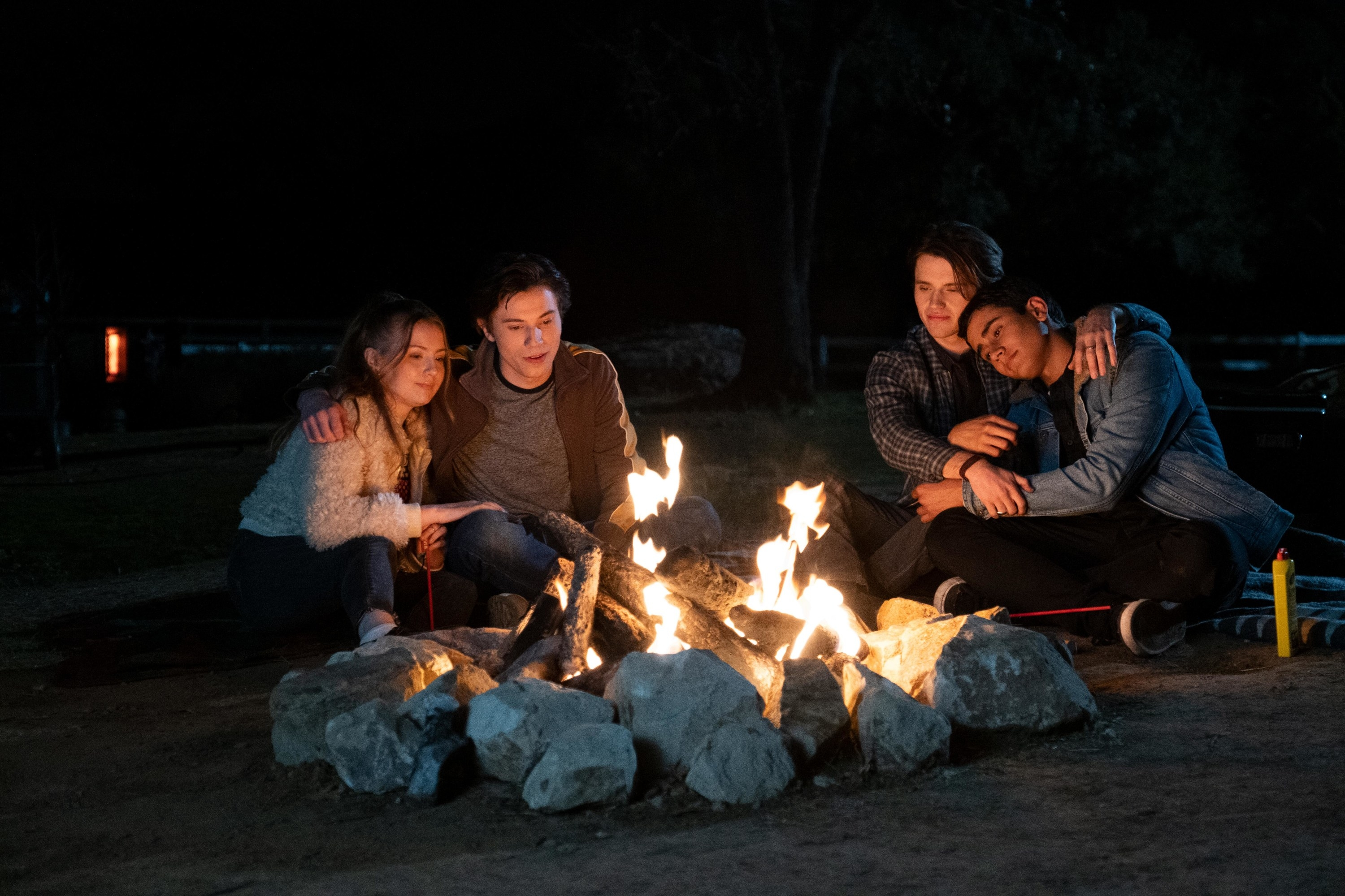 Lake and Felix and Benji and Victor at fire