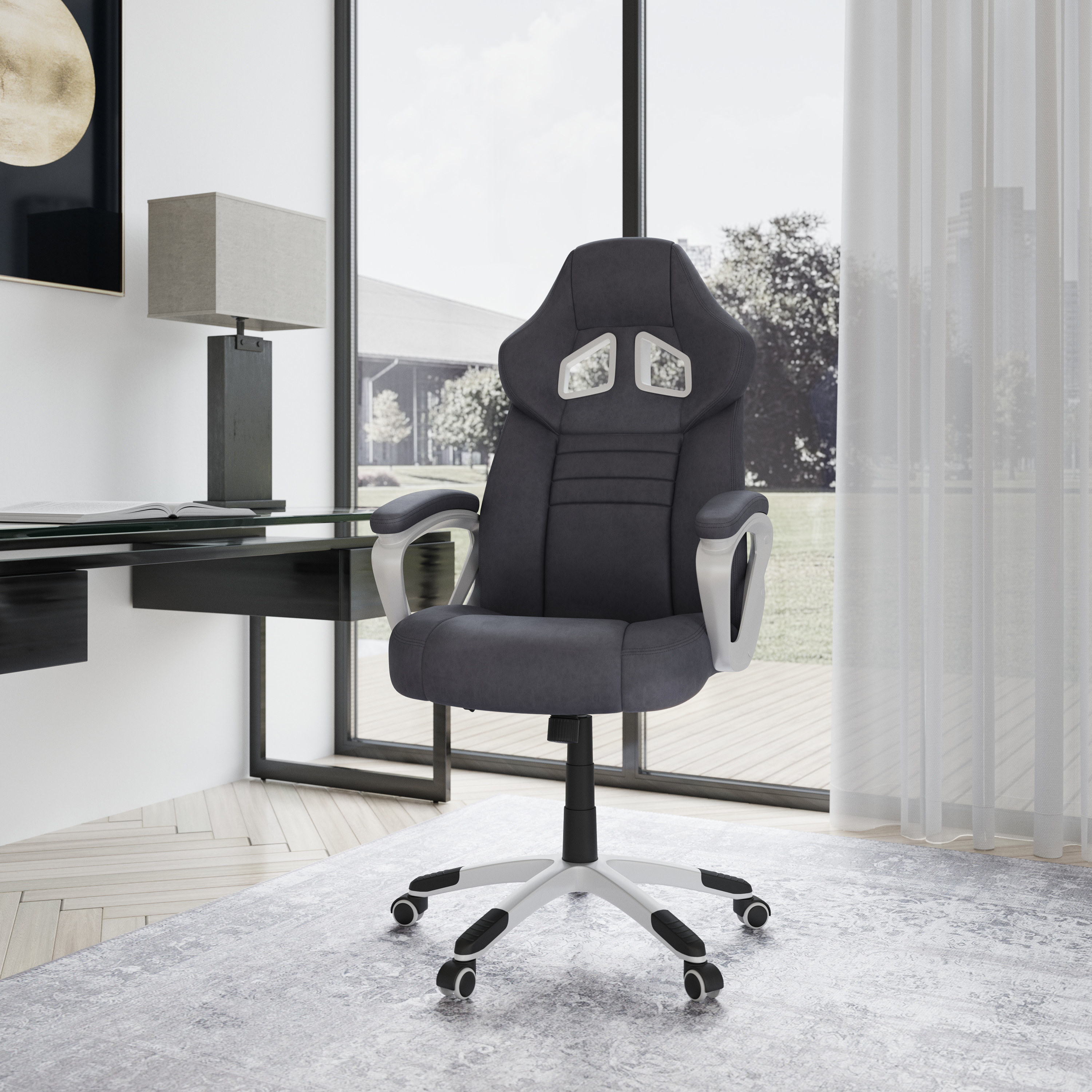 Grey chair with wheels