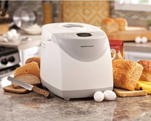 A bread maker in home surrounded by brown bread and eggs