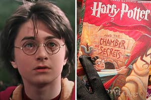 """Harry Potter is looking serious on the left with a woman holding """"Chamber of Secrets"""" on the right"""