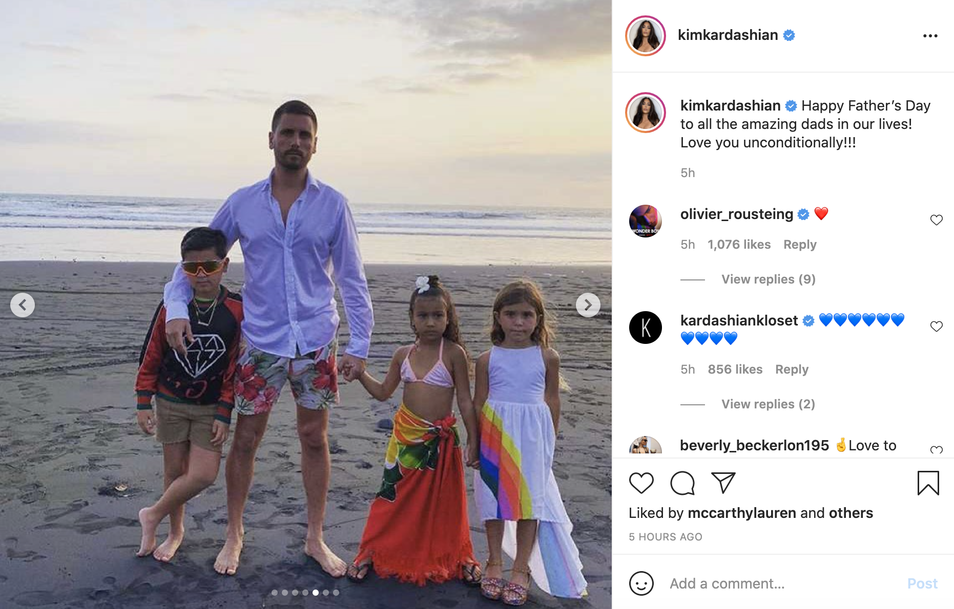 Scott Disick poses on the beach with his three children