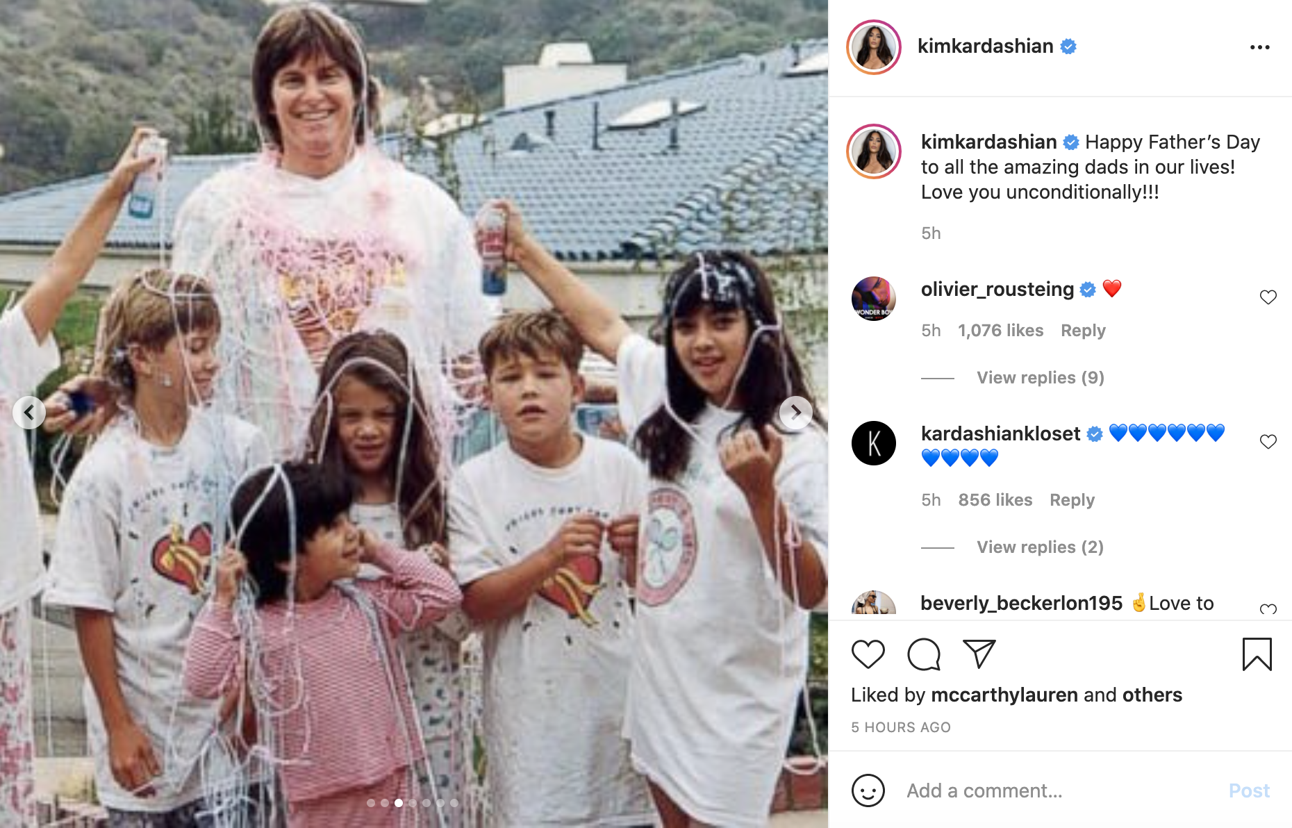 A throwback picture of Caitlyn Jenner on Kim Kardashian's Instagram