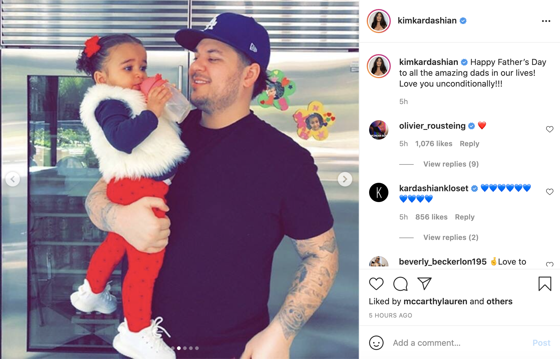 A picture of Rob Kardashian holding his daughter Dream in a kitchen, taken from Kim Kardashian's Instagram