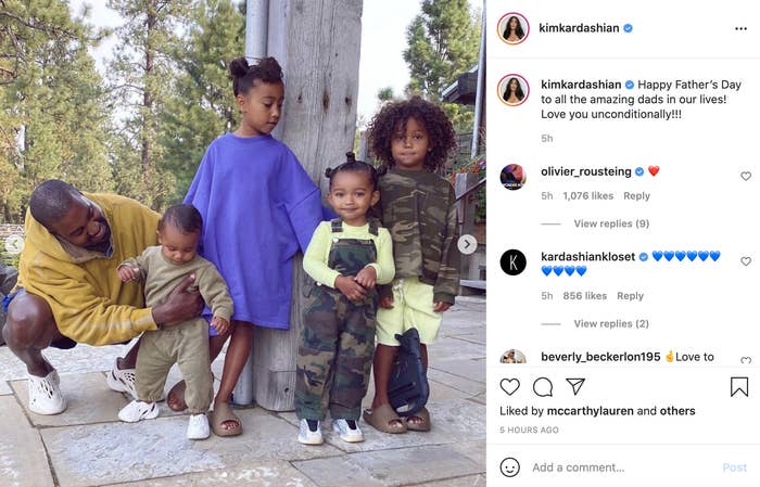 A picture of Kanye West and his four children on Kim Kardashian's Instagram