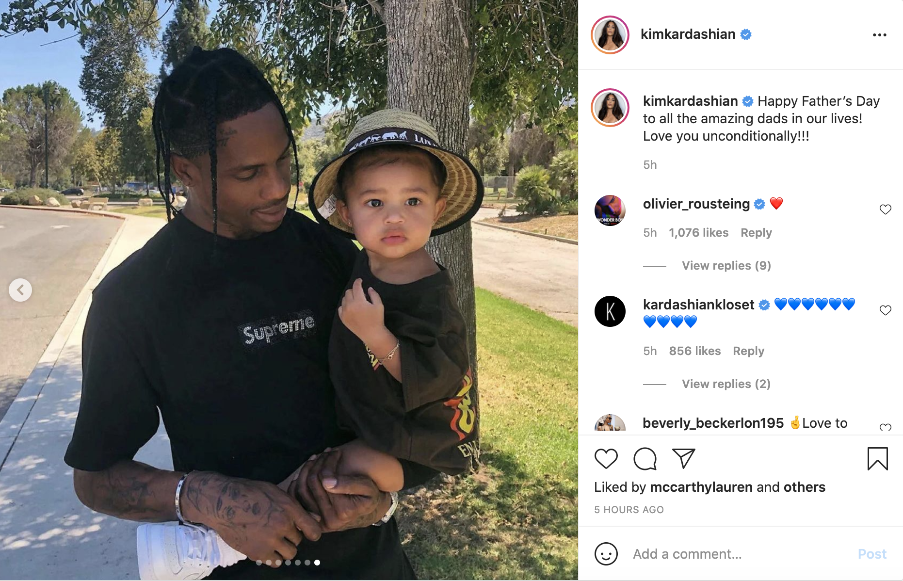 Travis Scott holds his daughter with Kylie Jenner, Stormi