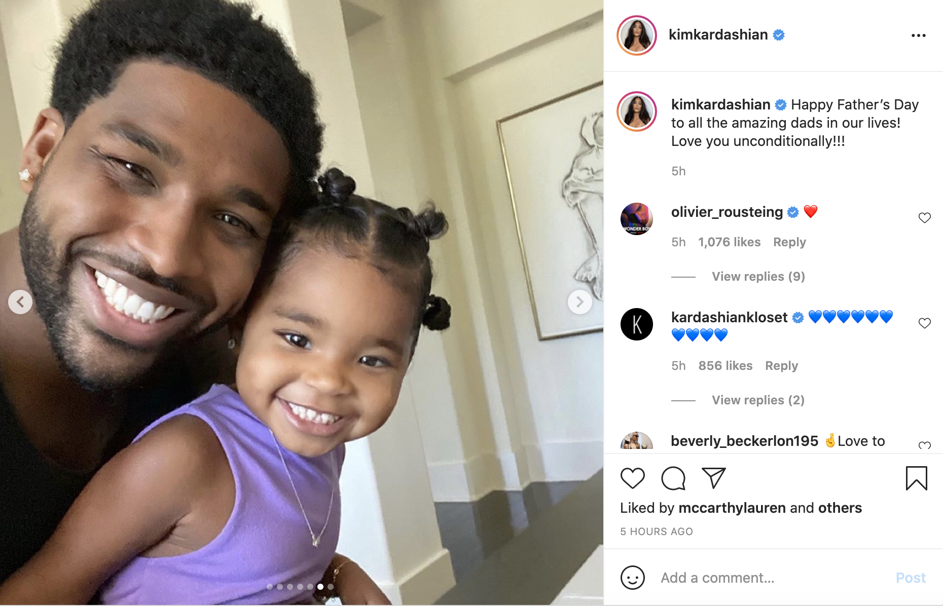 A screenshot of Tristan Thompson smiling with his daughter True