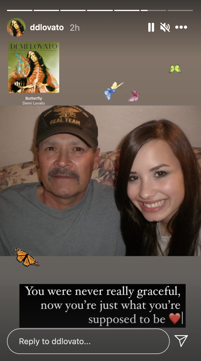 A screenshot of Demi Lovato's Instagram Story, which shows a throwback picture of Demi and their late father Patrick Lovato