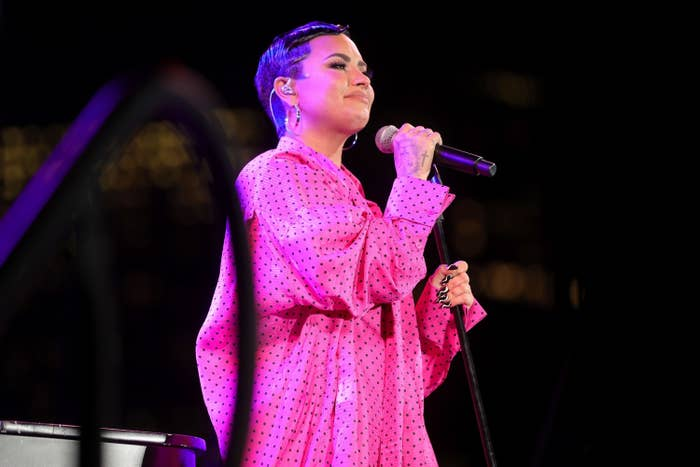 """Demi Lovato performs onstage during the OBB Premiere Event for YouTube Originals Docuseries """"Demi Lovato: Dancing With The Devil"""" at The Beverly Hilton on March 22, 2021 in Beverly Hills, California"""