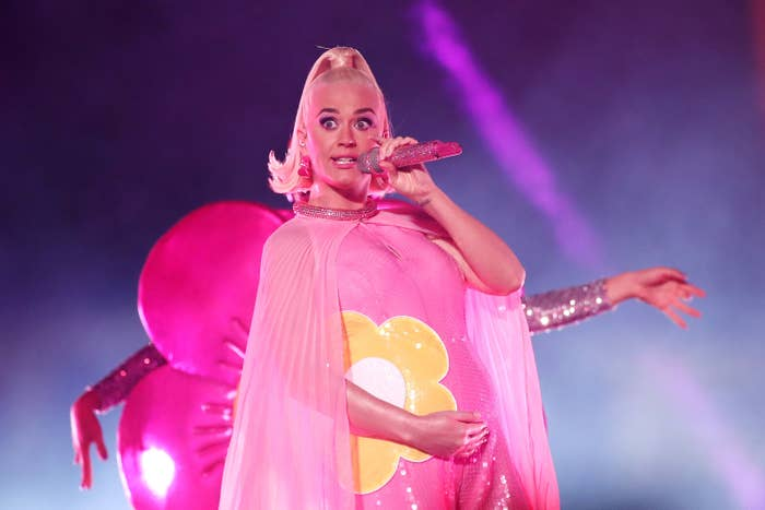 Katy Perry performs during the ICC Women's T20 Cricket World Cup Final between India and Australia at the Melbourne Cricket Ground on March 08, 2020 in Melbourne, Australia