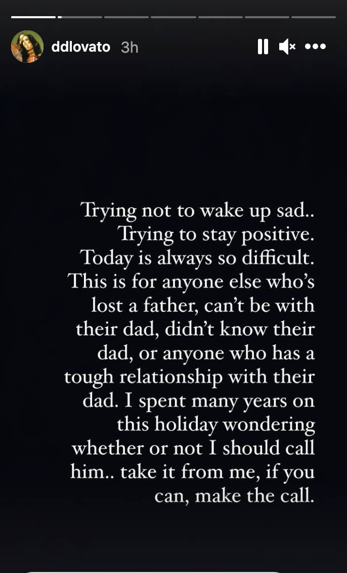 A screenshot of Demi Lovato's Instagram Story, detailing their challenging Father's Day experience