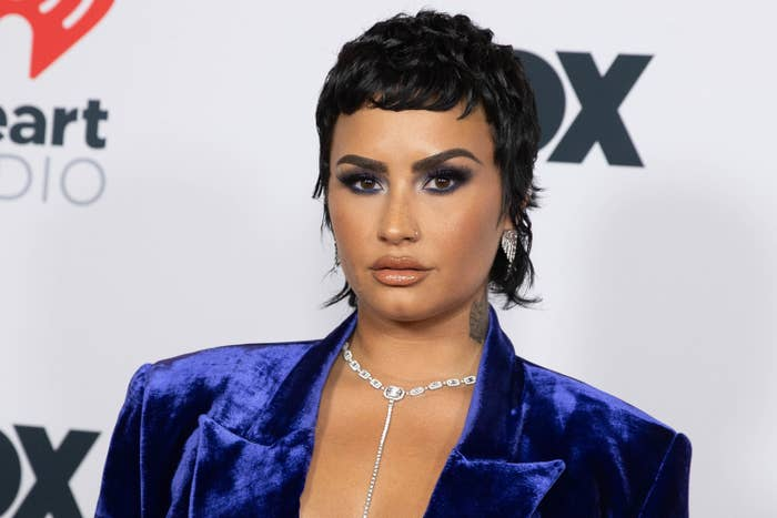 Demi Lovato is seen arriving at the 2021 iHeartRadio Music Awards on May 27, 2021 in Los Angeles, California