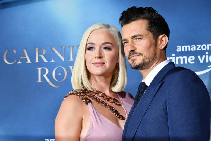 """Katy Perry and Orlando Bloom arrive at the LA Premiere Of Amazon's """"Carnival Row"""" at TCL Chinese Theatre on August 21, 2019, in Hollywood, California"""