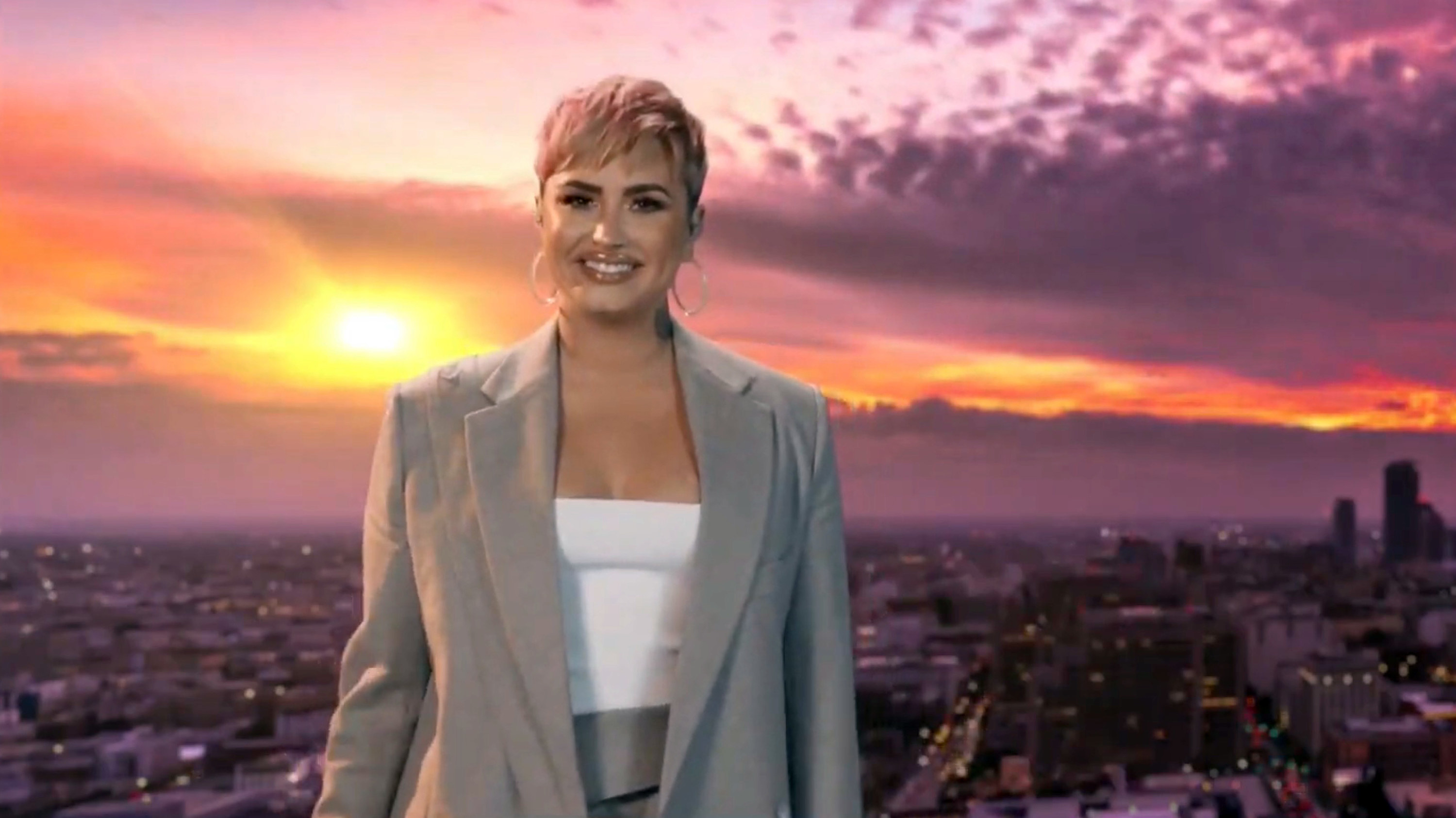 In this screengrab, Demi Lovato performs during the Celebrating America Primetime Special on January 20, 2021