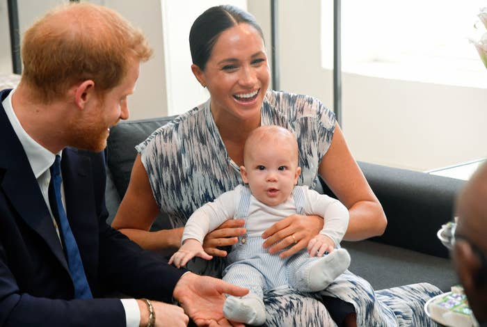 Meghan Markle and Prince Harry and baby Archie meet Archbishop Desmond Tutu and his daughter Thandeka Tutu-Gxashe
