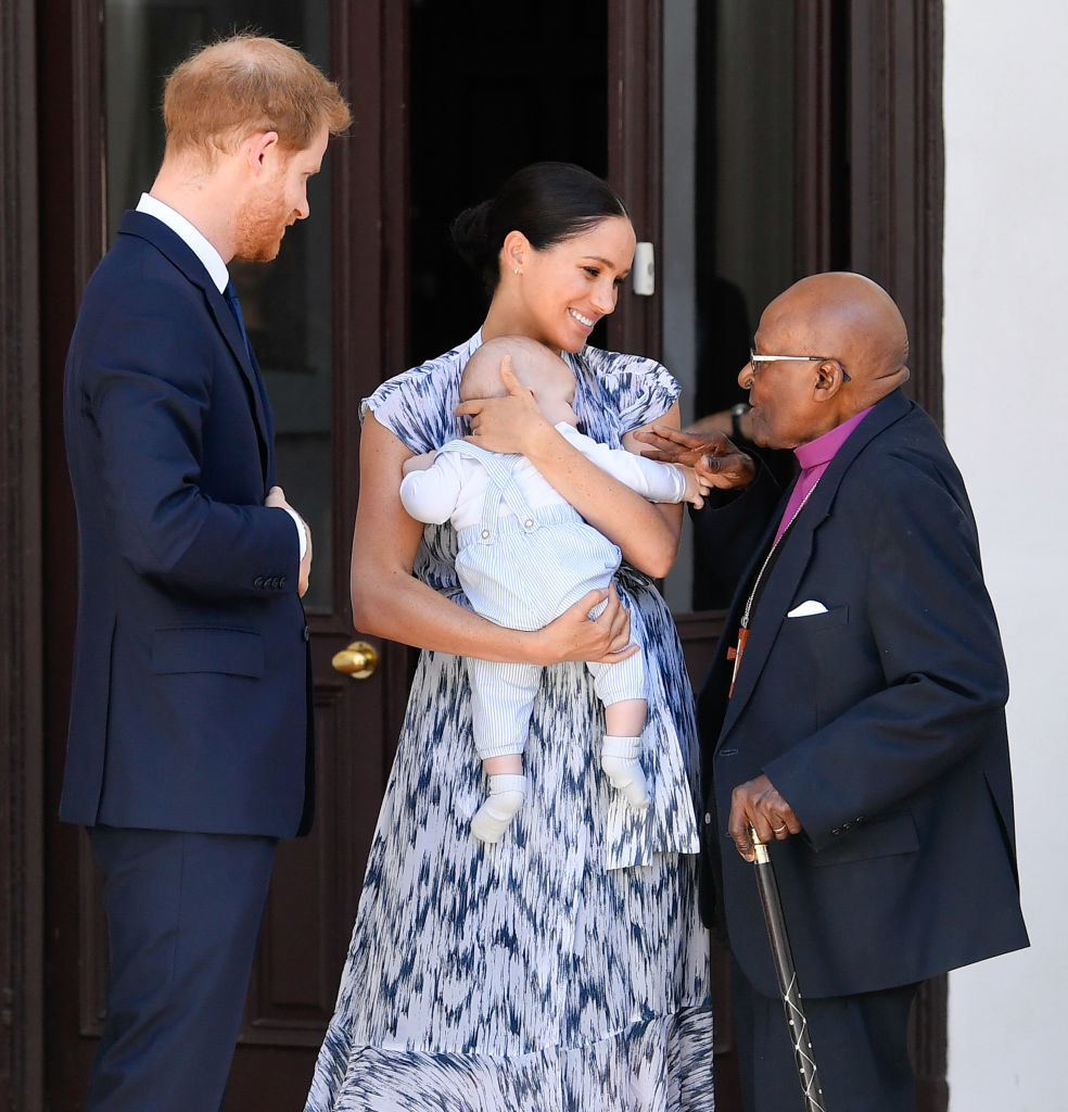 Prince Harry, Meghan, and their baby son Archie Mountbatten-Windsor meet Archbishop Desmond Tutu and his daughter Thandeka Tutu-Gxashe