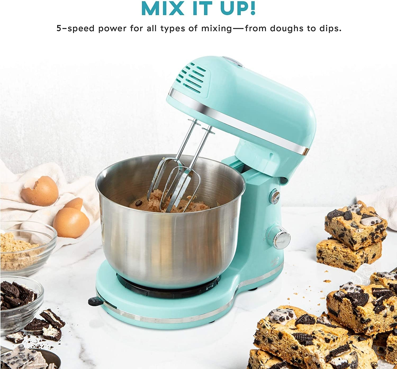 The stand mixer in aqua blue