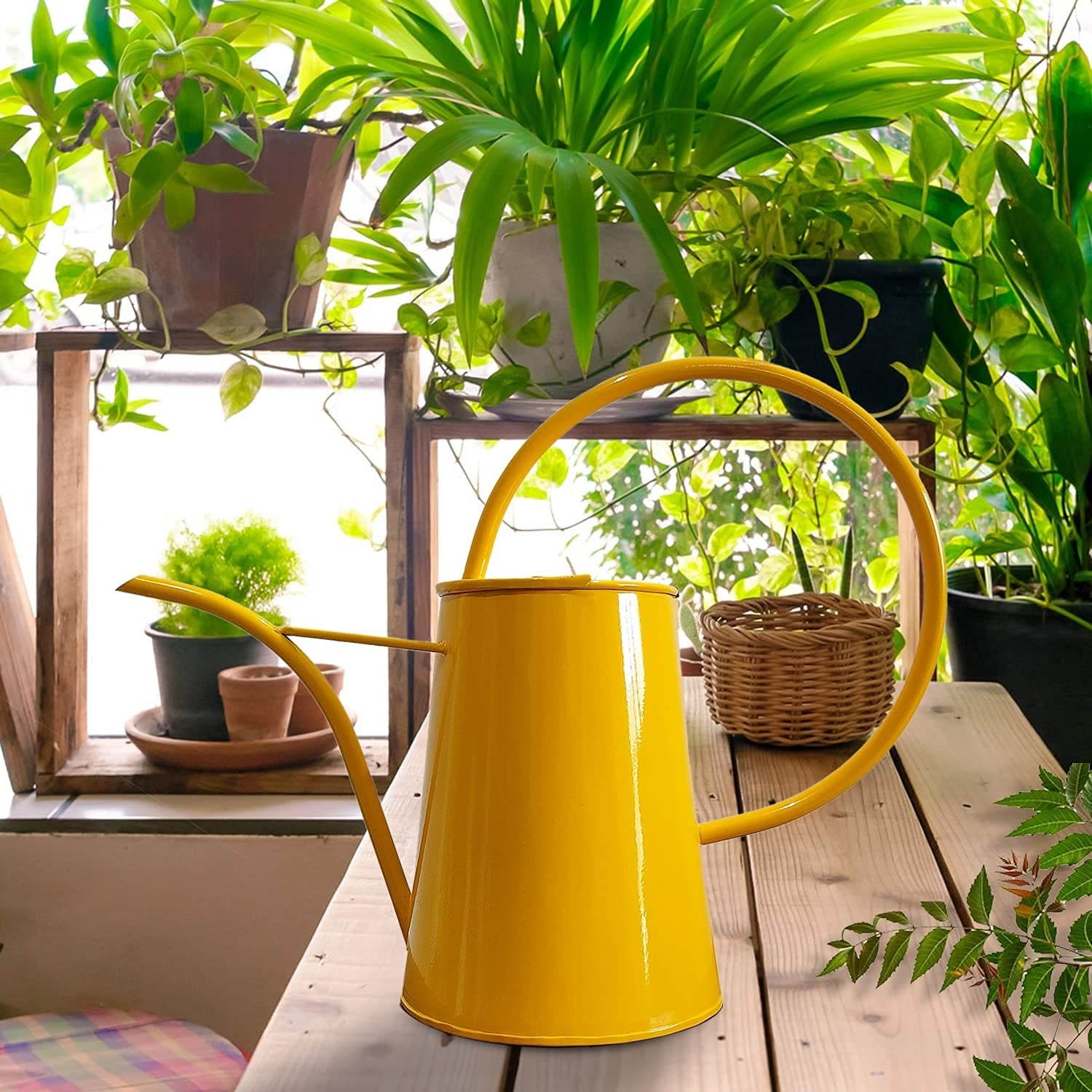 A yellow watering can.