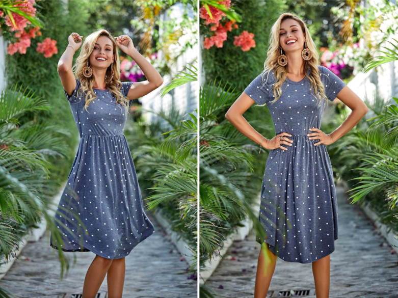 A person wearing the dress on an outdoor walkway