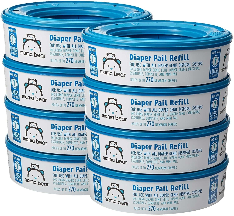 Stack of eight blue circular diaper genie refills