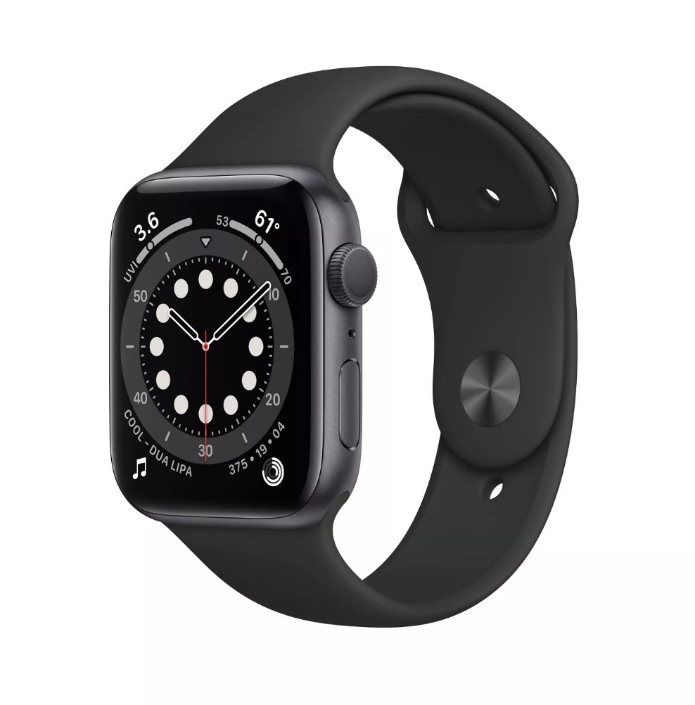 A Series 6 Apple Watch in space grey