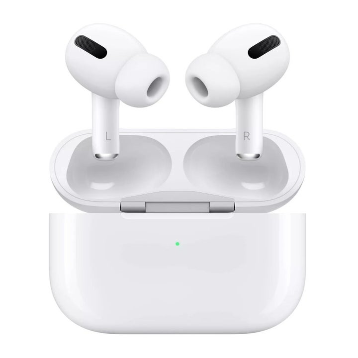 A pair of white Apple Airpod Pro headphones in their white charging case