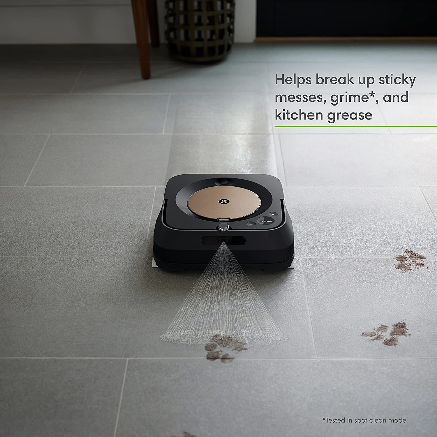 The black mop spraying cleaner on a muddy paw print
