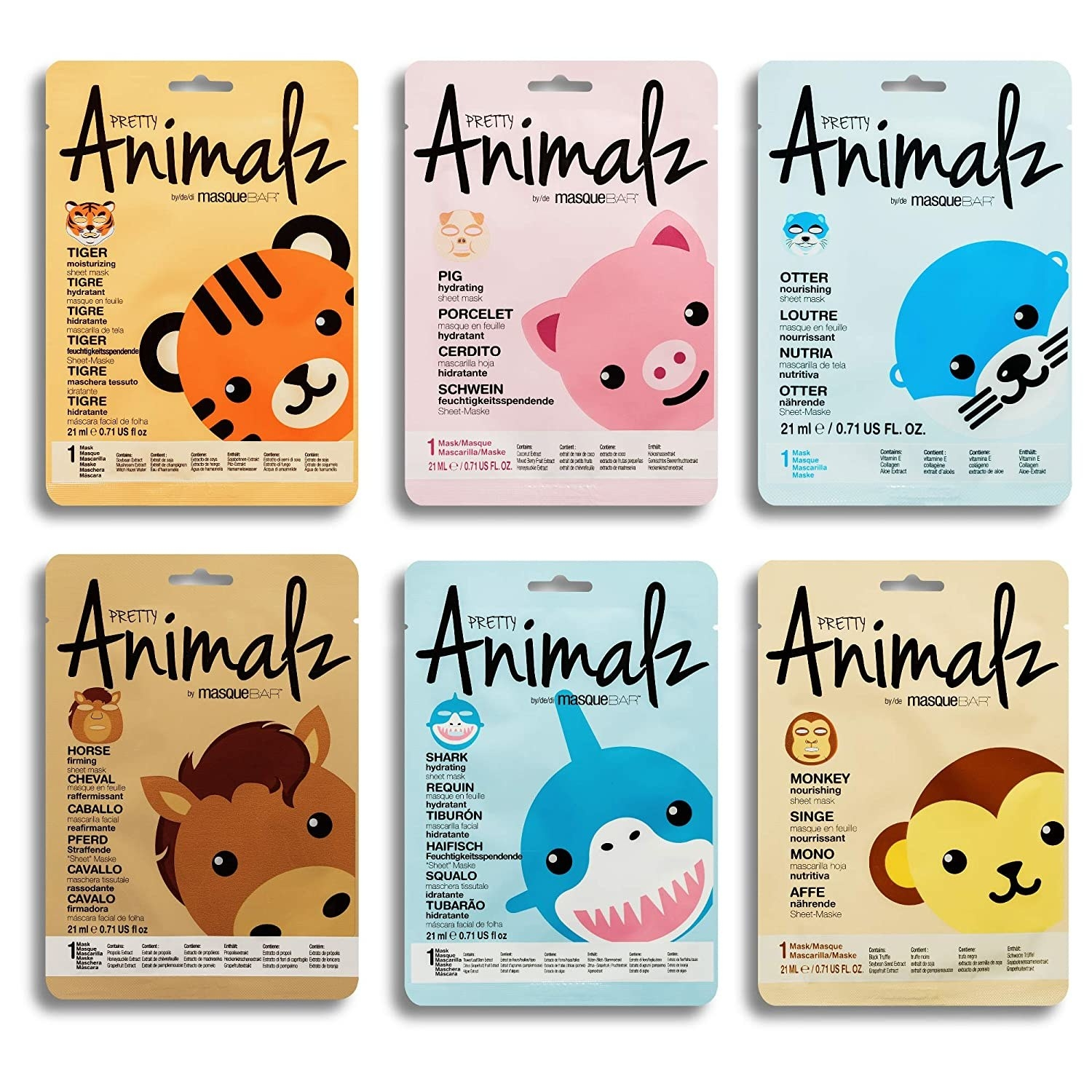 the set of six face masks featuring different animals