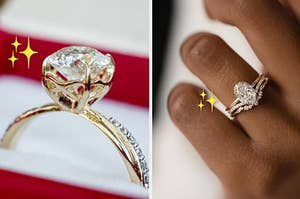 a giant diamond engagement ring on the left and an oval diamond engagement ring on the right