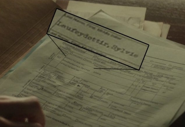 "paperwork that says ""Sylvie Laufeydottir"""