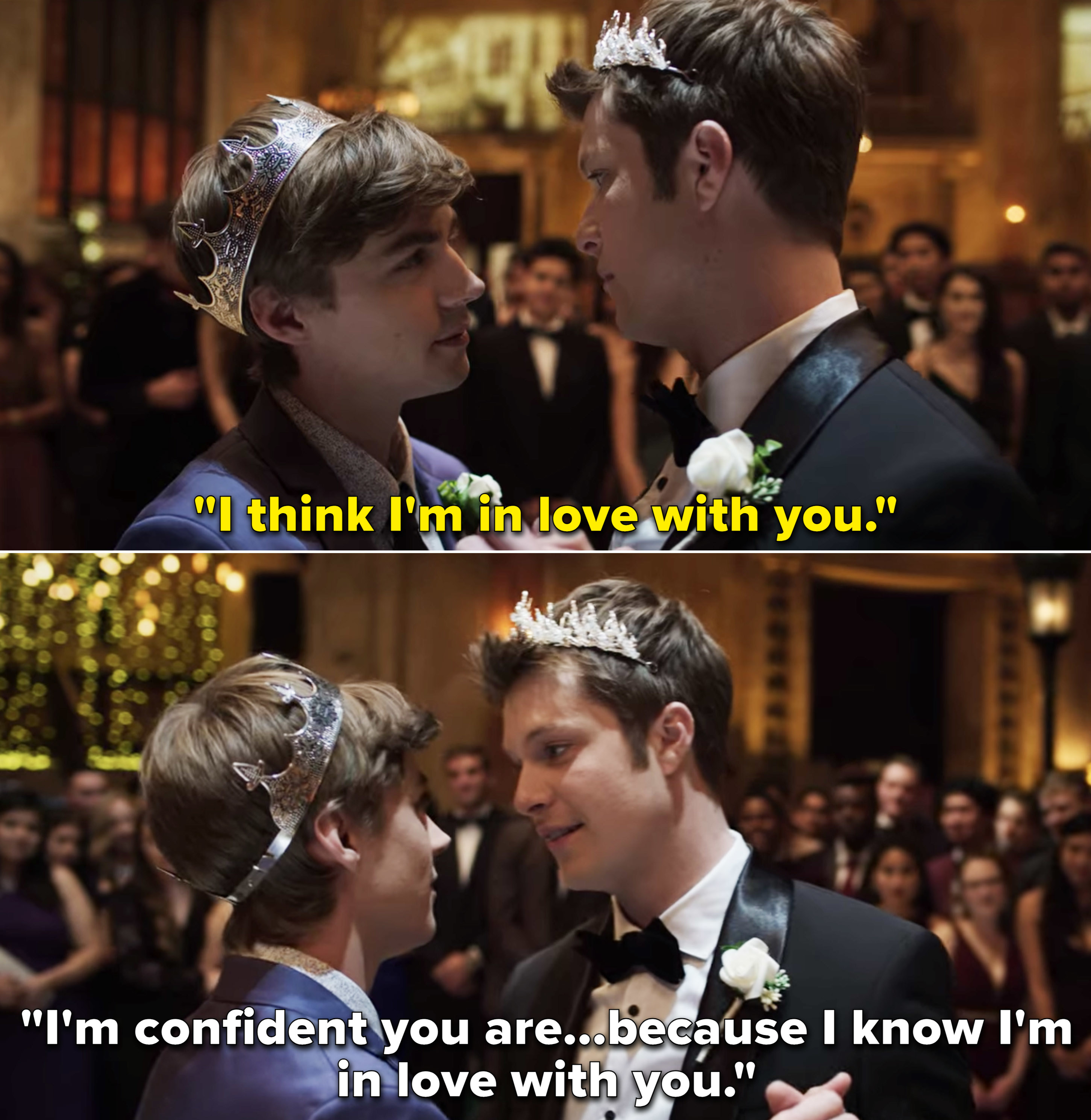 """Alex telling Charlie's he thinks he's in love with him. And Charlie saying,""""I'm confident you are...because I know I'm in love with you"""""""