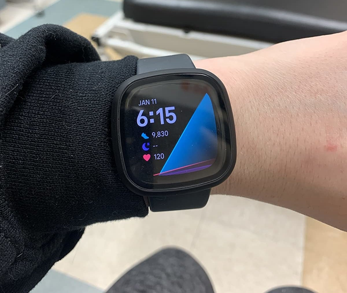 Reviewer wearing the black watch