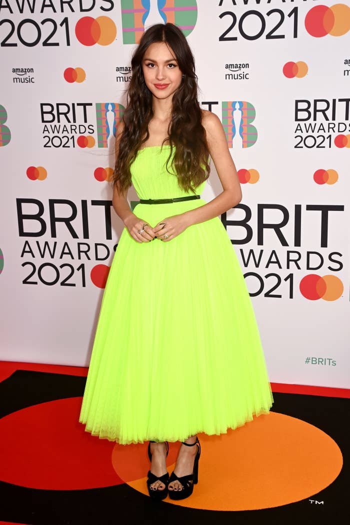 Olivia Rodrigo attends The BRIT Awards 2021 at The O2 Arena on May 11, 2021 in London, England