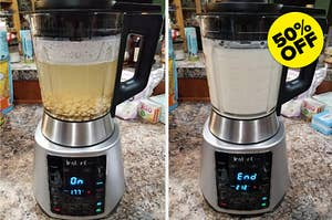 before and after photo of the Instant Pot blender making soy milk from soaked soybeans