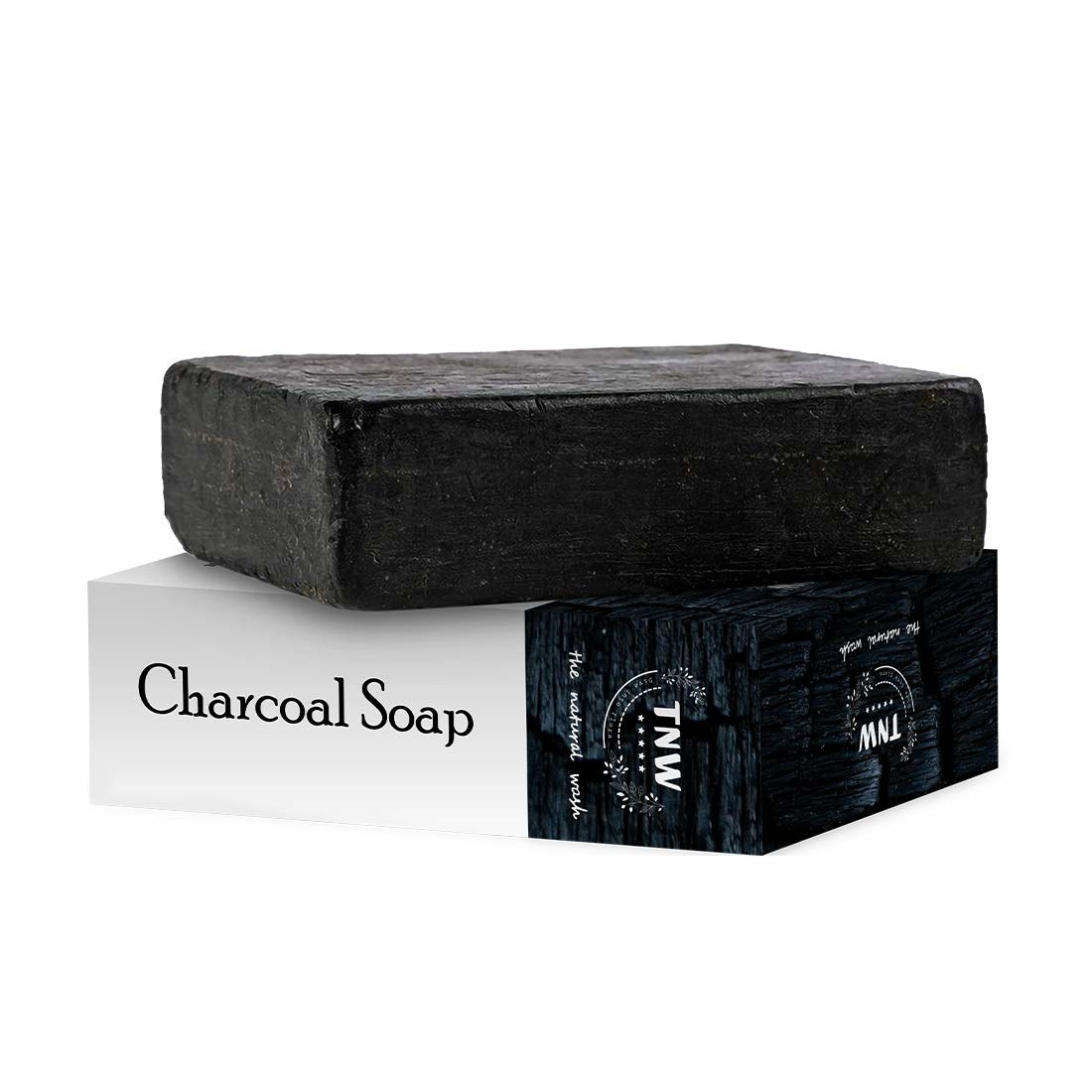 A black soap with black and white packaging.