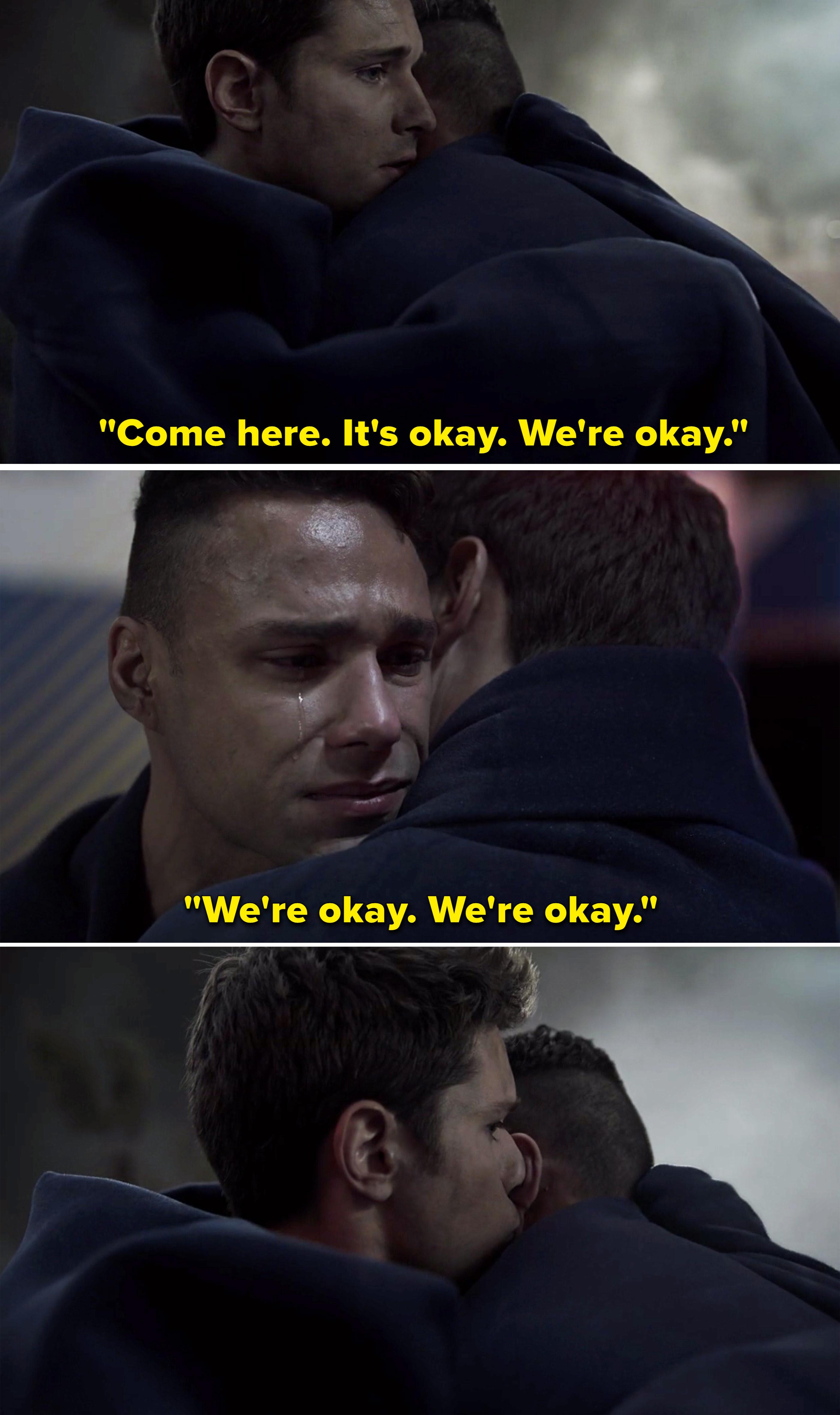 "TK hugging Carlos and saying, ""Come here. It's okay. We're okay. We're okay"""