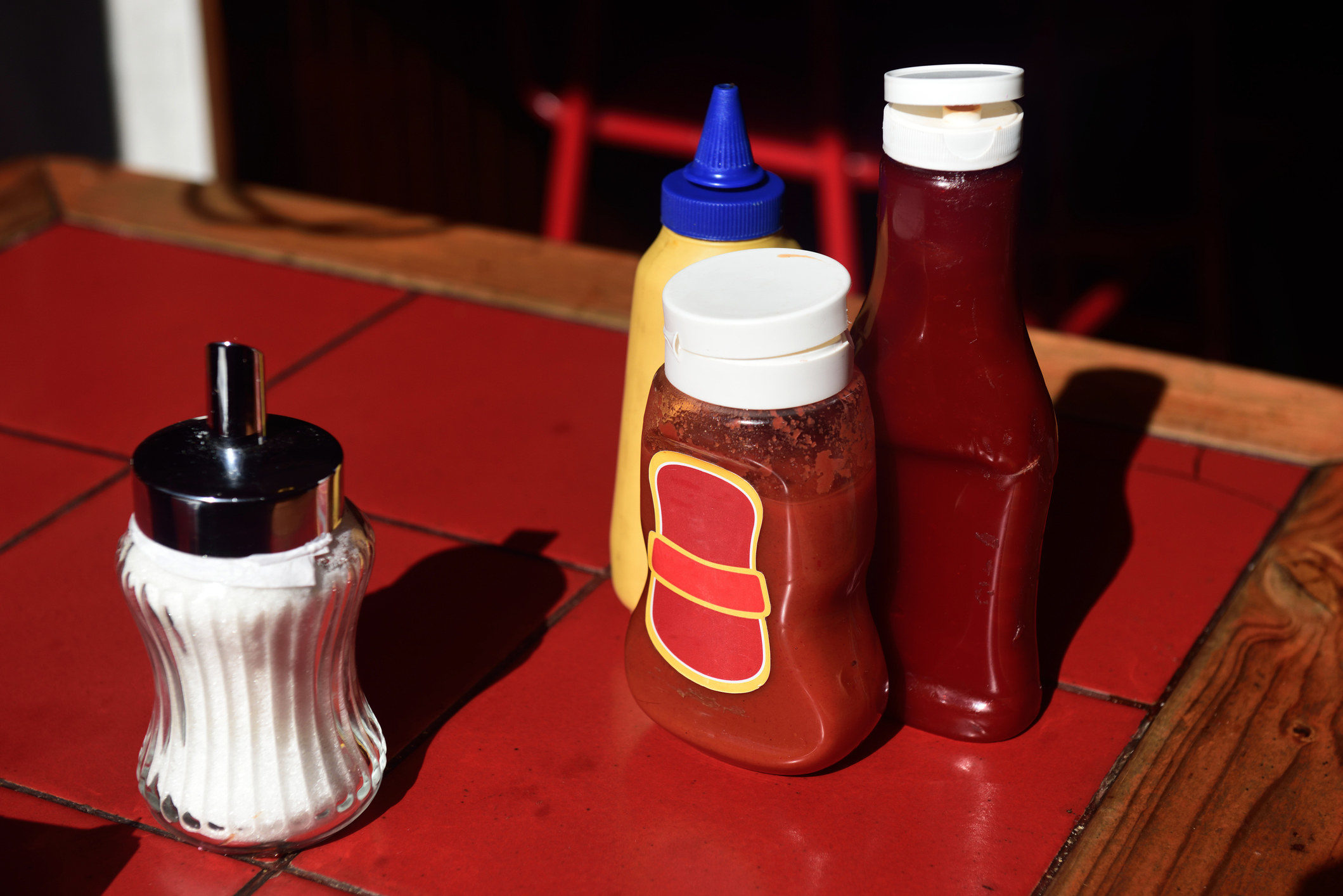 ketchup on a table