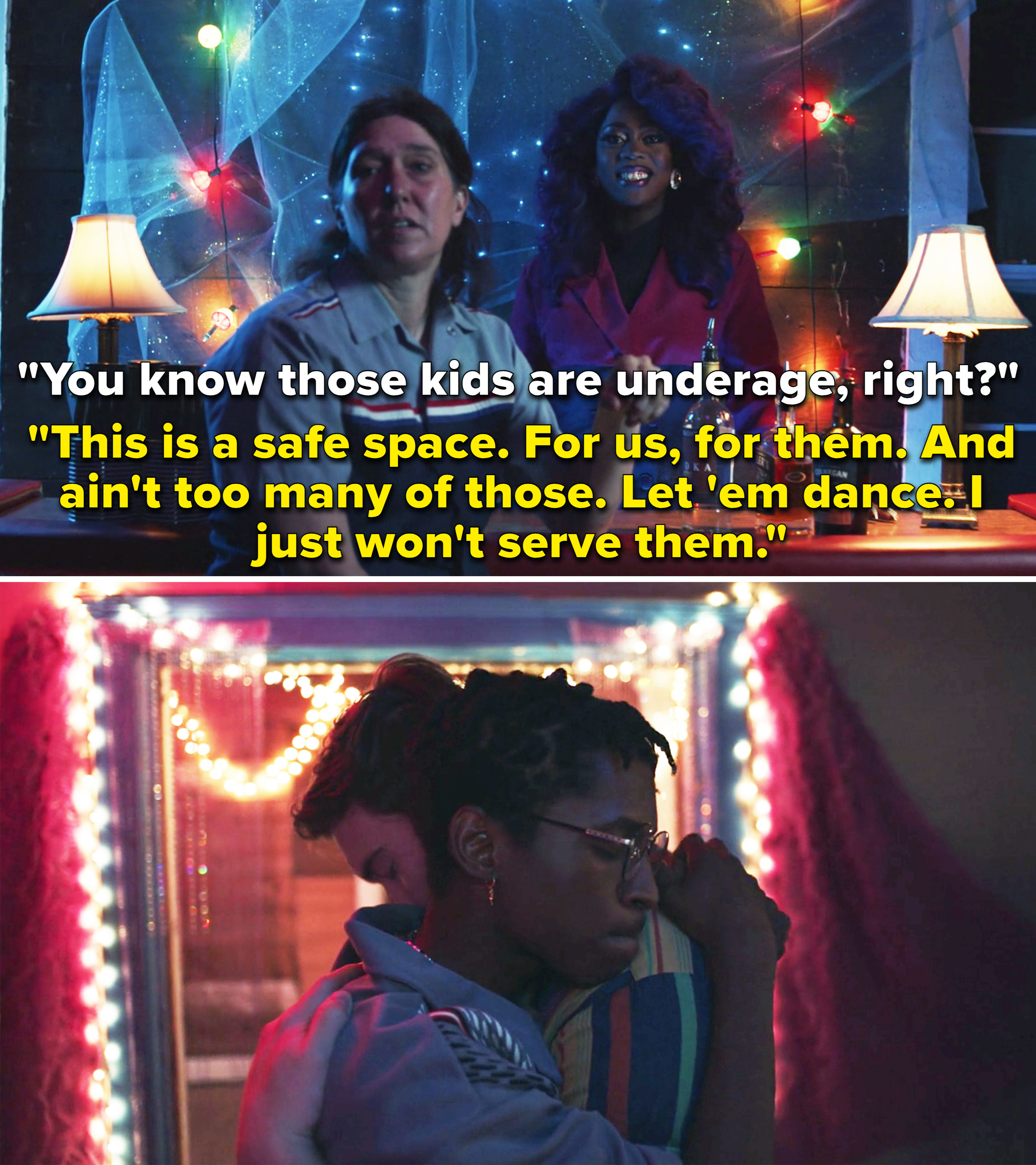 """A bartender watching Ben and Vince dancing and saying, """"This is a safe space. For us, for them. And ain't too many of those. Let 'em dance. I just won't serve them"""""""