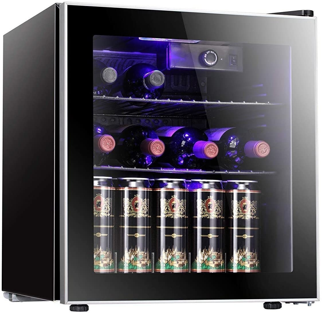 mini fridge with wine and beer inside