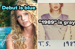 """Taylor Swift album cover labeled """"Debut is blue"""" and 1989 album cover labeled """"1989 is gray"""""""