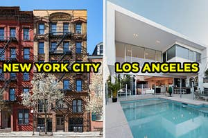 """On the left, the exterior of some apartments surrounded by blooming trees labeled """"New York City,"""" and on the right, the exterior of a modern home with a swimming pool out back labeled """"Los Angeles"""""""