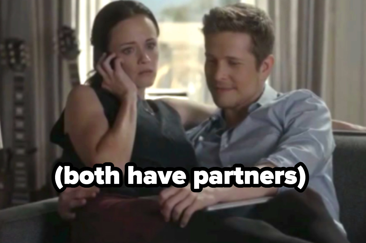 Rory sitting on Logan's lap while they both have partners