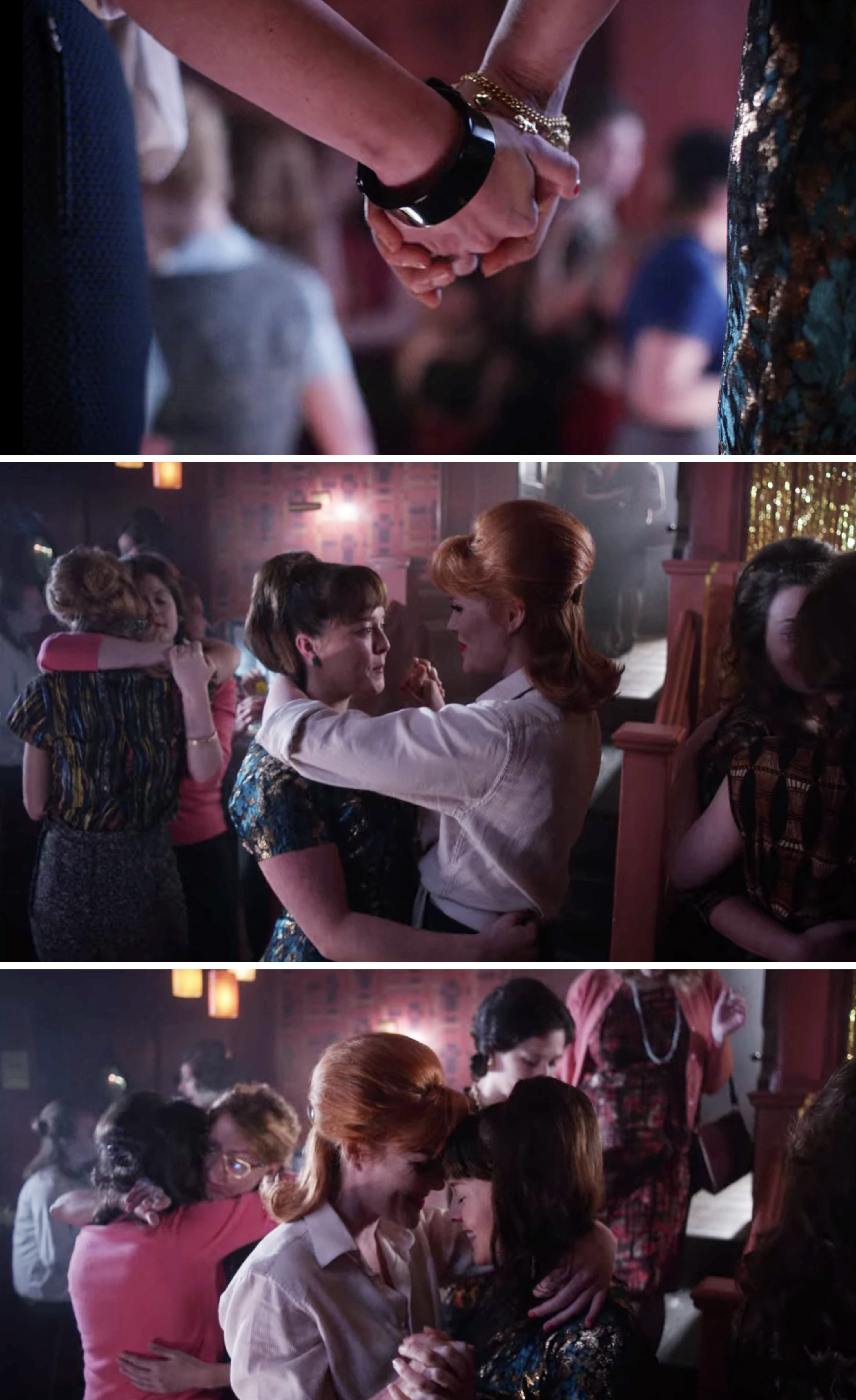 Patsy and Delia dancing and holding hands